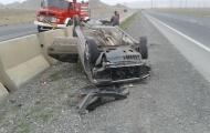 واژگونی خودروی پژو در اتوبان شهید کاظمی