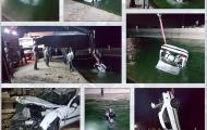نجات معجزه آسا دو نفر از حادثه سقوط خودرو داخل کانال آب